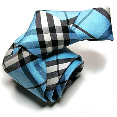 NELSON WADE, custom bespoke silk tie 10 royal blue plaid.